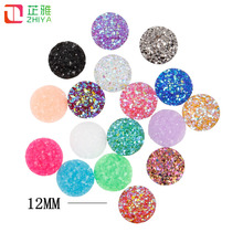 12mm Druzy color18-30 GRAPE FRUIT/SERENITY /ROSE Flatback Resin Round Stone beads Resin Rhinestone For DIY Wedding Decoration(China)