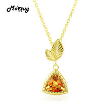 MoBuy MBNI012 Triangle Natural Gemstone Citrine Necklace&Pendant 925 Sterling Silver 14K Yellow Gold Plated Leaf Fine Jewelry