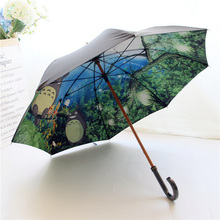 2017 Anime Totoro Ghibli Long Umbrella Women Double Layers Cartoon Paraguas Mujer Parapluie Women Regenschirm High Quality