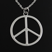 new fashion peace symbol Pendants round cross chain short long Mens Womens silver necklace Jewelry Gift(China)