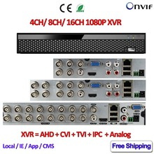 16CH AHD CCTV DVR 8CH ONVIF ip camera recorder H.264 4CH AHD DVR for AHD-H CVI TVI camera Network Hybrid XVR 1080P cctv recorder