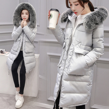 The new style for the pregnant cotton clothing winter fashion Slim long hair collar long cotton wool thickening warm jacket