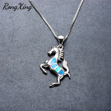 RongXing Sparkling Blue Fire Opal Animal Pendants Necklaces For Women New Fashion 925 Sterling Silver Horse Necklace Gift NL0062
