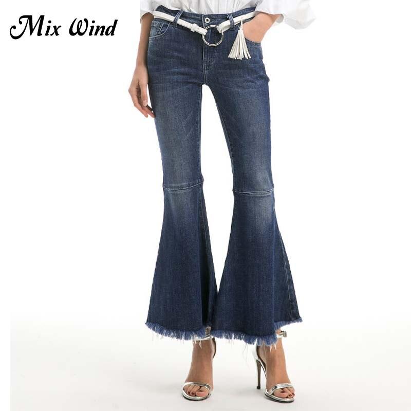 Mix Wind 2017 Autumn New Personality Women  High Waist Wide Leg Pants Fashion Loose Tassel Bleached Flare Pants Full Length JeanÎäåæäà è àêñåññóàðû<br><br>