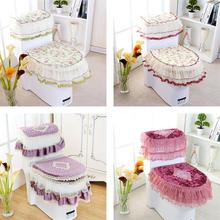Good quality Lace 3 piece Set Toilet Seat Cover U-shaped Overcoat Home Decor Bathroom Toilet Mats closestool merletto 4 colors(China)