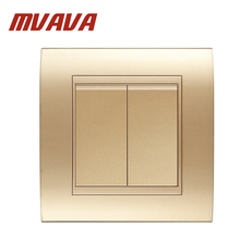 MVAVA 2 Gang Electrical Wiring Push Button Light Wall Switch 16A 110~250V  220V Luxury Champagne Gold  PC Panel Free Shipping