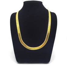 Chunky Real Yellow Weave Snake Bone Solid Chain Necklace Men Boys Hip Hop Jewelry(China)