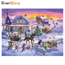 EverShine 5D DIY Daimond Embroidery Cross-stitch Snow Landscape Full Diamond Painting Christmas Rhinestones Gifts(China)