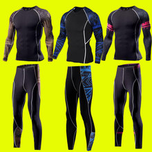 2 pcs survetement football clothes men running sets compression underwear fitness gym Warm sportswear, thermal underwear s-4xl(China)