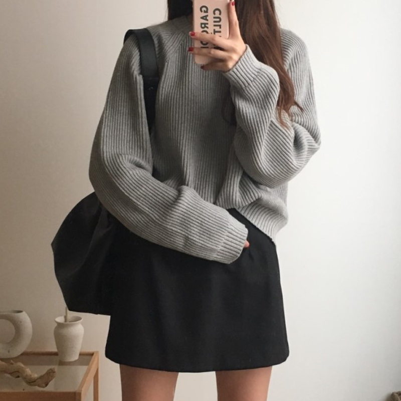 Korean Fashion Ladies Full Sleeve Women Knitting Sweater Solid O-Neck Pullover And Jumper Loose Sweater Hot Sale S809Q 14