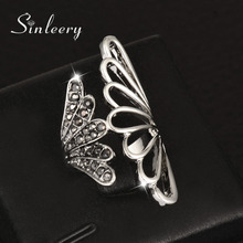 SINLEERY Vintage Black Cubic Zircon Angel Wings Finger Rings For Women Antique Silver Color Jewelry Unique Design JZ002(China)