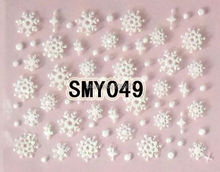 2PCS SMY049 White Snowflake Nail Art Cute Cartoon Sticker Nail Art Sticker