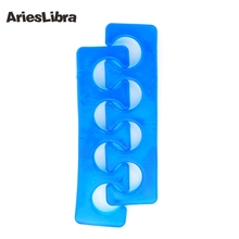 AriesLibra Silicone Toe Separator 2PC/Pair Blue/Green/Pink Nail Art Manicure Finger Feet Care Braces Supports Nails Tools(China)