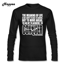 Arnold Schwarzenegger The Meaning Of Life T-shirts Men 100% Cotton Tee Shirt Men Top Printed Long Sleeve T Shirt For Adult