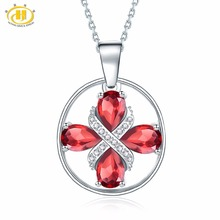 Hutang Natural Garnet Similar Gemstone Necklace S925 Sterling Silver Cross Diamond Necklaces & Pendants Fine Jewelry Women 2018(China)