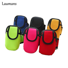 Laumans Running Bag Arm Wrist Band Hand Sport Mobile Phone Case for iphone for Samsung Wallet Pouch Hand Accessory Under 5.5inch(China)