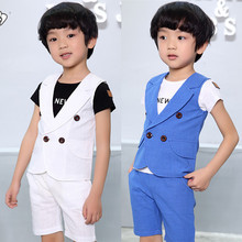 2017 new Arrival Baby Suits Double Breasted Kids Clothes Set 2-10Years Gentle Boys Prom suits Summer Children Garment Blue/white(China)