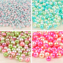 Round Rainbow Color Imitation Pearls Beads Crafts Decoration for DIY Bracelets Necklaces Jewelry Making 4/6/8/10mm 50-500pcs/lot(China)
