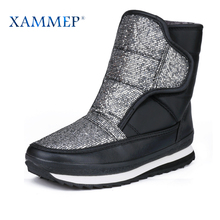 XAMMEP Women's Winter Shoes Big Size High Quality Brand Women Shoes Plush And Wool Warmful Women Winter Boots Mid Calf Boots(China)