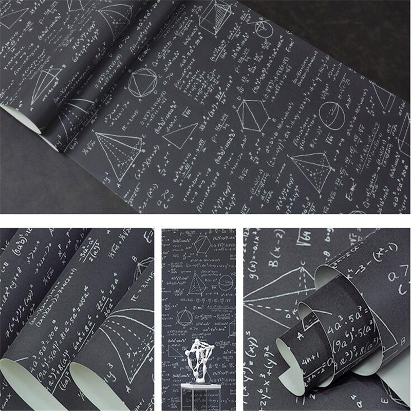 Beibehang Blackboard geometric mathematical formula equation personality wallpaper children s room cafe restaurant wallpaper <br>