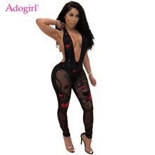 Buy Adogirl Sequins Halter Women Sexy Bandage Jumpsuit Plunge V Neck Sleeveless Sheer Mesh Patchwork Romper Bodysuits Club Costumes