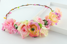 Newest elegant peony Flower Wreath yellow color wedding Party Floral Garlands crown halo Kids party headband corsage wreath