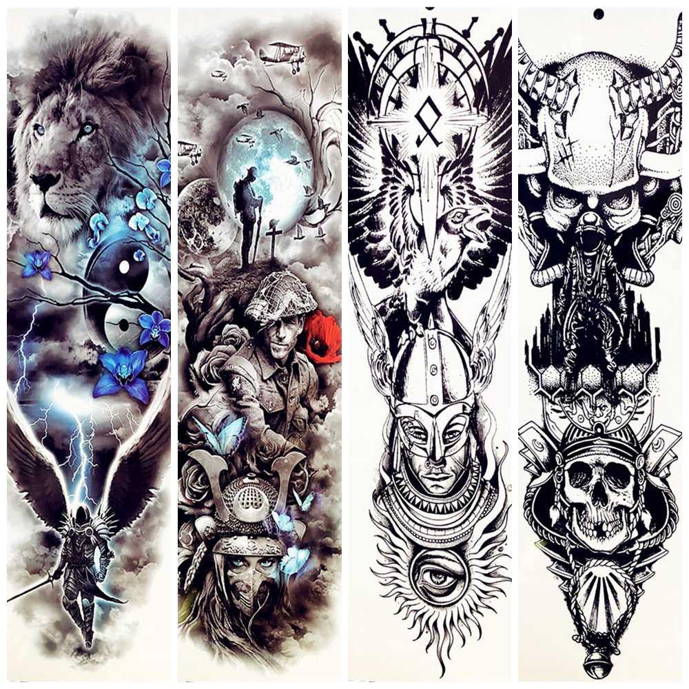 Spartans Warrior Temporarty Tattoo Stickers 48x17cm Large Full Arm Fake Waterproof Lion Face Tattoo Paste Power Men Tatoos Women