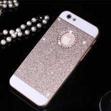 Hot Rhinestone Phone Case Bling Logo Window Luxury Cover for iPhone X 8 4 4s 5 5s 6 6s 7 Plus case Shinning back cover cases(China)