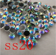 Crystal AB SS20 DMC HotFix FlatBack Rhinestones crystal hot fix stone Iron On Rhinestones garment sewing stones(China)