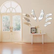 8pcs Silver Removable Feather Design 3D Dressing Mirror Sticker Home Decoration Living Room DIY Wall Sticker(China)