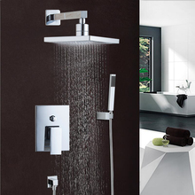 "Best Price Wall Mounted Rain Shower Set Square Shower Head 8""  Shower Set with Control Valve Shower Set Faucets"