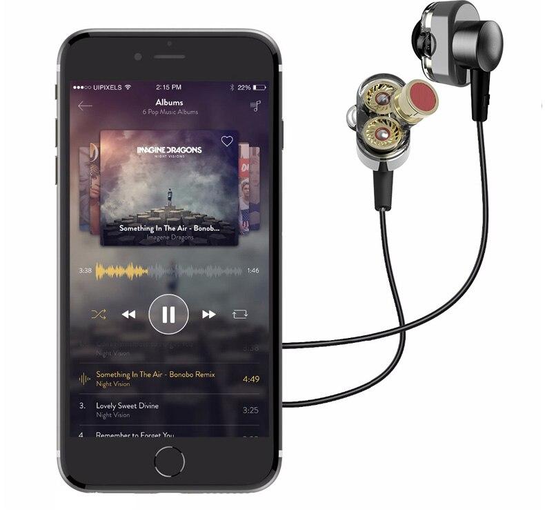 QKZ KD2 Earphone audifonos Dual Driver Fone De Ouvido Auriculares Original Hybrid Dual Dynamic Driver In-ear Earphone Headset