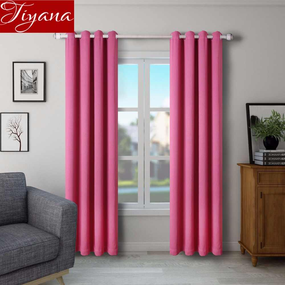 Rose Red Curtain for Living Room Solid Blackout Tulle Curtain Kitchen Sheer Fabrics Drapes Window Bedroom Treatment X337 #30