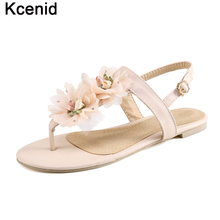 Kcenid New women sandals flats ankle-strap shoes women summer sweet flowers flip flops female pink red sandals plus size 33-48