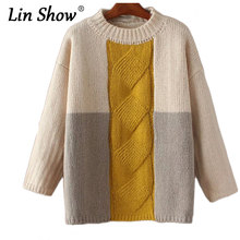 LINSHOW Patchwork Round Neck Casual Women Sweaters Fashion Thick Crochet Pullovers Winter Warm Elegant Ethnic Ladies Knitwear