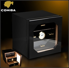 COHIBA Black High Glossy Piano Finish Cedar Wood Cigar Cabinet Humidor with 3 Drawers Hygrometer and Humidifier