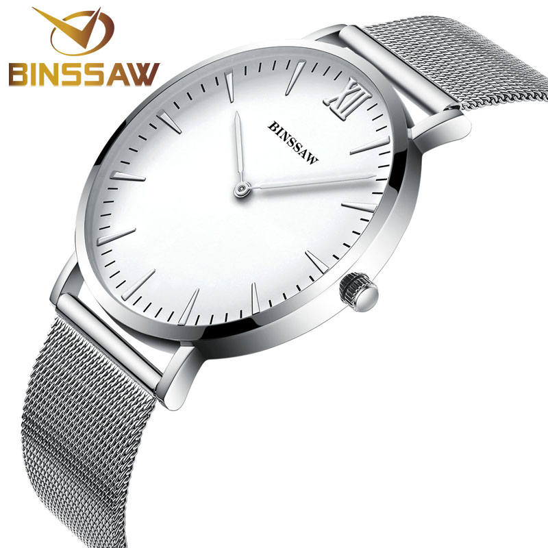 Luxury Brand Binssaw Men Watches Waterproof Stainless Steel Quartz Watch Fashion Ultra Thin Business Mens Casual Wrist Watch<br>