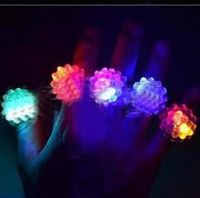 free shipping New 2017 48pcs/lot LED Light Strawberry Flashing Finger Ring, Elastic Rubber Ring, Event Party Supplies Glow Toys