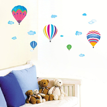 Free Shipping New removable cheap hot air balloon nursery bedroom wall stickers adhesive baby room wall decor