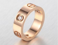 4mm/6mm Famous brand Women men crystal Jewelry love rings luxury titanium steel Rose Gold bijoux couple lovers ring