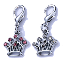 Wholesale Pet Tag Dog Collar Charms Rhinestone Pendants Jewelry Lobster Clasp Charms Pet Supplies Mixed Colors