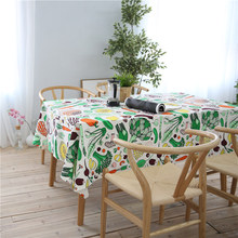 CITYINCITY Vegetable And Fruit Style White Tablecloth Cotton Printed Rectangular For Home Party Wedding Decoration Customized(China)