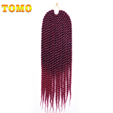 "TOMO 18"" Two Tone Ombre Hair Style Black Blonde Braiding Hair Brands For Crochet Braid 17 Color Crochet Twist Purple Burgundy(China)"