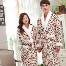 Lovers Bathrobes Couple Sleepwear Leopard Warm Nightwear Cows Female Flannel Nightgown Women Long Sleeve Kimono Man Bath Robe(China)