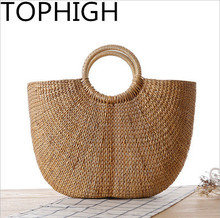 TOPHIGH beach bag straw tote bag bucket summer bags with tassels women handbag braided 2017 new arrivals  womens bag  B523
