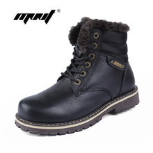 100% Genuine Leather Men Boots High Quality Plus Fur Men Winter Boots Super Warm Men Shoes Large Size Snow Boots(China)