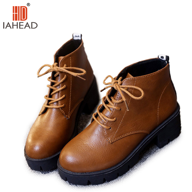 IAHEAD Women Boots Winter Shoes Women Snow Boots Fashion Causal Shoes Ankle Hoof Heels Solid Platform Shoes UPC332<br>
