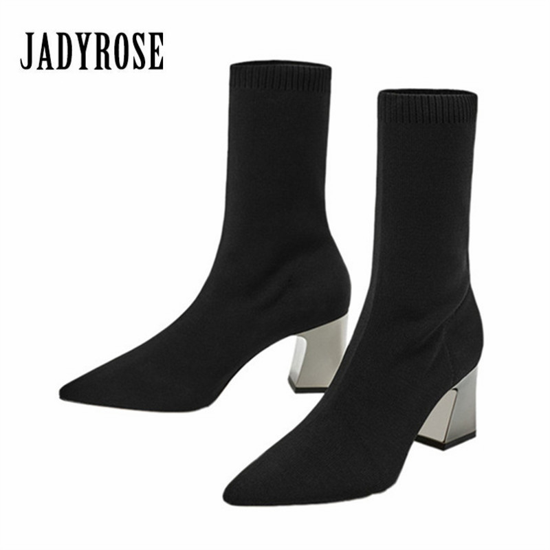 Jady Rose 2018 New Black Women Stretch Knit Sock Boots Pointed Toe Ankle Boots Chunky High Heels Winter Warm Boot Women Pumps<br>