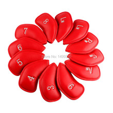 New 12pc/Set Thick Pu Leather Golf Iron Covers For JPEX Iron Club Iron Headcover Red numbered lw log wedge Free Shipping