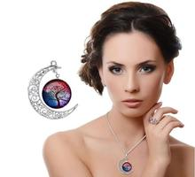 Red Women Fashion Glass Moon Statement Necklace Vintage Silver Color Jewelry Life Tree Art Picture Pendant Necklace Women gift